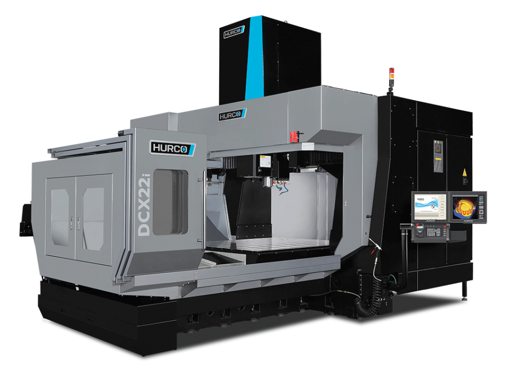 HURCO DCX22i Double Column Machining Center, DCX Series The dual column DCX22i is the only machine in its class with the integrated Hurco control powered by WinMax. The double column design provides superior dynamic behavior and promotes thermal stability. Our control technology combined with our stringent design and manufacturing processes make the DCX22i an excellent investment. Exceptional cutting feed rates are achieved with patented high-speed motion technology – resulting in the fastest cut with the best surface finish.