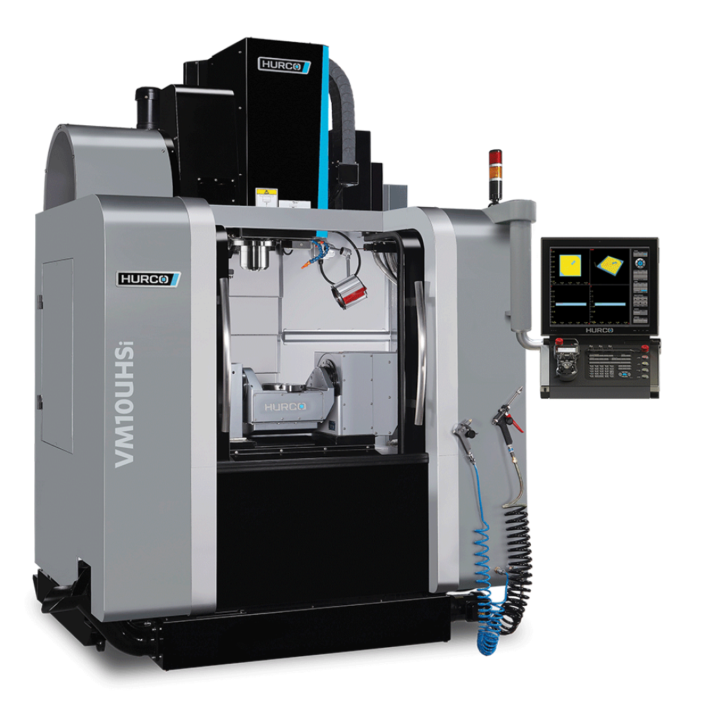 HURCO VM10UHSi 5-Axis Trunnion Style High-Speed Machine The Hurco VM10UHSi 5-Axis high-speed trunnion style machining center is an ideal configuration for 5-sided machining. The integrated trunnion table design provides more clearance in Z for larger part capacity compared to other brands. With more standard features than other 5-axis machines, the trunnion style machining center is a perfect fit for 5-sided work. Exceptional cutting feed rates are achieved with patented high-speed motion technology – resulting in the fastest cut with the best surface finish.